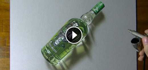 Vodka bottle Drawing timelapse