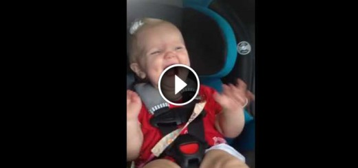 adorable baby stops to cry