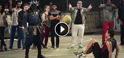 samurai playing football