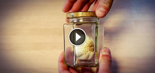 He Puts Garlic In A Jar And Starts Shaking