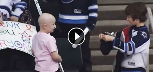 boy gives hockey stick cancer fighting girl