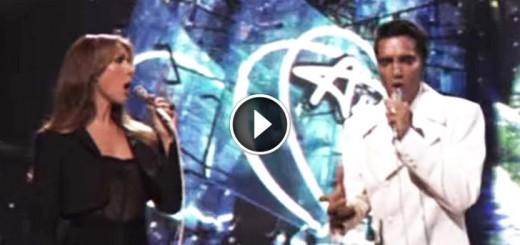 Elvis joined Celine Dion on stage