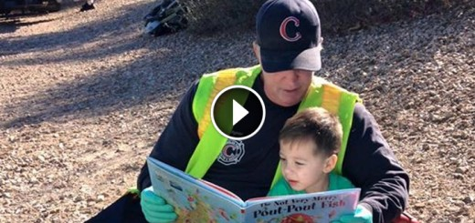 firefighter reading young boy story