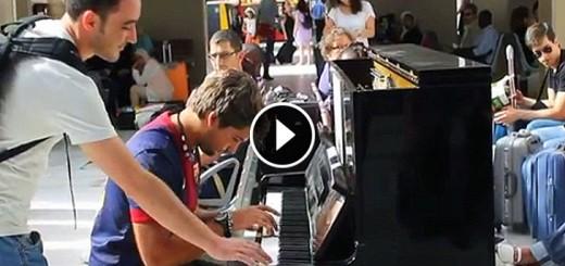 strangers play piano